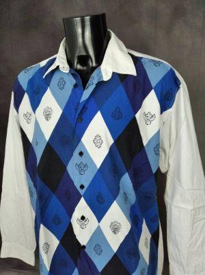 Chemise Provence de marque Souleiado, Véritable vintage années 90, Motifs Damiers, Made in France, Pur Coton, Taille XL, Couleur Bleu Blanc Noir, Gardian Camargue Sud Feria Shirt Homme