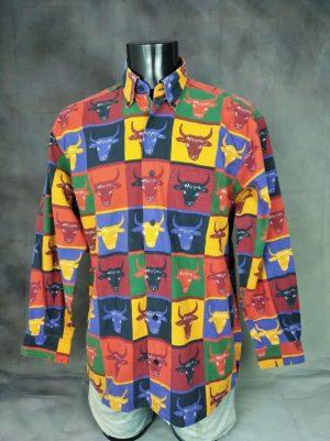 Chemise Provence de marque SOULEIADO, Véritable vintage années 90, Tête de Toro, Made in France, Taille L, Couleur Multicolore, Gardian Camargue Sud Feria Shirt Homme