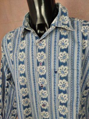 Chemise Provence Souleiado, Véritable Vintage Années 90, Motifs Indiennes, Taille 2XL, Couleur Blanc et Bleu, Gardian Camargue Sud Feria Shirt Homme
