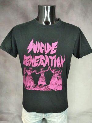 T-Shirt Suicide Generation, Marque Stars & Stripes, Pur Coton, Taille M, Couleur Noir et Rose, Rock Garage Punk Homme