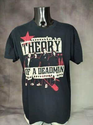 T-Shirt Theory Of A Deadman, Marque Optima, Pur Coton, Made in Mexico, Taille L, Couleur Noir, Alternative Rock Grunge Homme