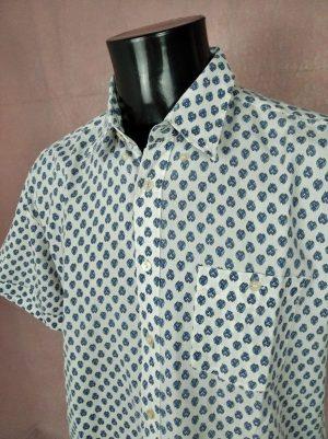 Chemise Provence Vallachi, Manches Courtes, Véritable vintage années 90, Taille L, Couleur Blanc et Bleu, Gardian Camargue Sud Feria Shirt Homme