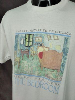 T-Shirt Vincent Van Gogh, The Bedroom, The Art Institute Of Chicago, Vintage Année 1998, Licence Officielle, Marque Hanes, Taille XL, Couleur Blanc et Multicolore, Art Peinture France USA Homme