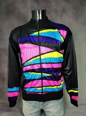 Veste Hiver Vintage Année 90s, Made in Italy, 80% Laine, Windproof, Taille M, Couleur Noir et Multicolore, Design Eroica Vélo Cyclisme Old School Homme