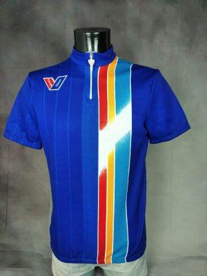 Maillot Vittore Gianni, Véritable Vintage Années 90s, Made in Italy, Milano, Taille L, Couleur Bleu et Multicolore, Eroica Vélo Cyclisme Old School Homme