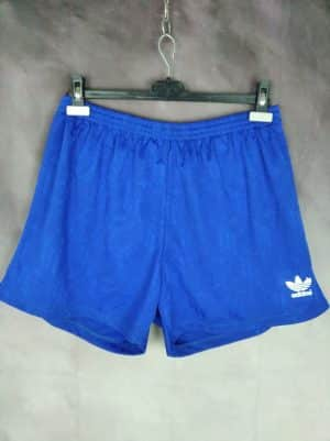 Shorts Adidas, Véritable vintage années 90s, Made in Bulgarien, Trefoil, Pur Polyester, Taille XL, Couleur Bleu et Blanc, Football Sports Sportwear Homme