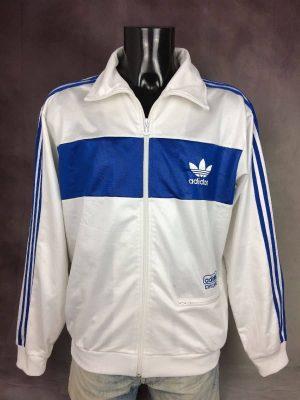 Veste Adidas, Collection Chile 62, Vintage Année 2007, Trefoil, Taille XL, Couleur Blanc et Bleu, Design Sport Sportwear Streetwear Homme