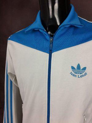 Veste Adidas, Ivan Lendl, 2004, Vintage Années 00s, Made in Indonesia, Trefoil, Taille M, Couleur Bleuet Blanc, Tennis Design Sport Sportwear Streetwear Homme