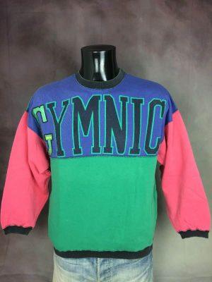 Sweatshirt Arena, Gymnic, Véritable Vintage années 80s, Made in France, Production Ventex, Taille S, Couleur Multicolore, Sport Sportwear Old School Unisexe