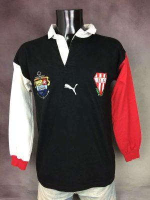 Maillot Biarritz Olympique Pays Basque, Véritable Vintage Années 00s, modèle Alternative, Marque Puma, Pur Coton, Taille M, Couleur Noir, Rouge, Blanc, Quinze XV Top 14 Jersey Rugby Polo Homme