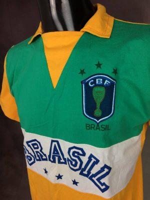 Maillot Brasil Team, N°10, Véritable Vintage Années 80, Marque Bambual, Rio, Pur Coton, CBF, Trois Etoiles, Taille M, Couleur Jaune, Blanc et Vert, Fan Brazil Brésil Football Homme