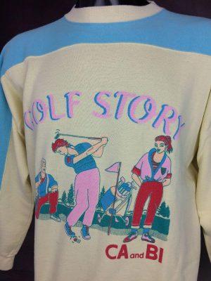 Sweatshirt Ca And Bi Collection, Golf Story, Véritable Vintage années 80s, Taille L, Couleur Jaune et Bleu, Sport Sweater Sportwear Old School Unisexe