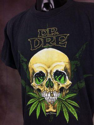T-Shirt Dr Dre, In Bud We Trust, Production Pushead, Véritable Vintage Année 90s, Double Face, Taille L, Couleur Noir, Hip Hop Marijuana Rap 2PAC Gangsta Tupac Death Row Homme