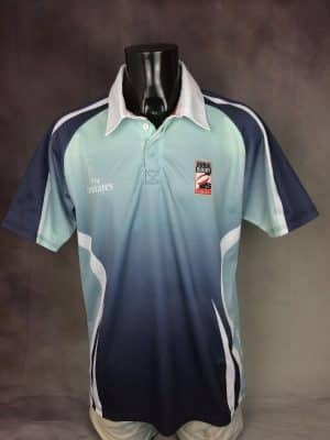 Maillot Dubai Rugby Team, Limited Edition, Official Licence, Marque Gilbert, Sponsor Fly Emirates, Taille L, Couleur Bleu, Gris et Blanc, 7 Sevens World Cup Jersey Polo Rugby Homme