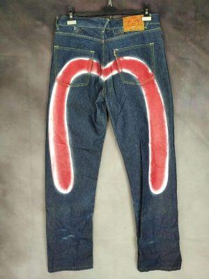 Pantalon Evisu, Modèle 0131 Indigo Genes, Seagull Big Logo, Vintage, Fermeture Zip, 100% coton, Taille W31, Couleur Bleu et Rouge, Denim Jeans Homme
