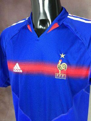 Maillot FRANCE Team, Saison 2004 - 2006, version Home, Marque Adidas, daté du 04/04, Technologie ClimaCool, Véritable Vintage, Taille L, Couleur Bleu, Euro Cup FFF Football Homme