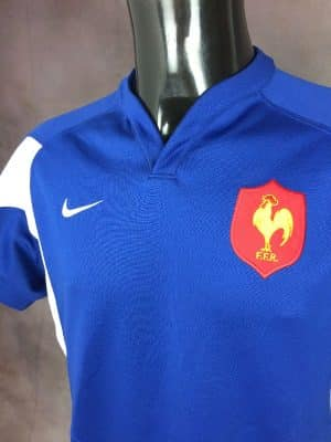 Maillot France Team, Saison 2005 à 2007, Version Home, Marque Nike, Technologie Dri-Fit, Taille L, Couleur Bleu et Blanc, FFR IRBQuinze XV Tournoi World Cup Jersey Rugby Homme
