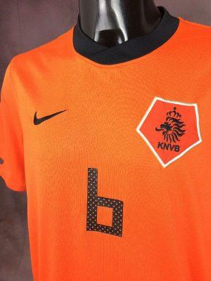 Maillot Holland, Van Bommel N°6, version Home, saison 2010 2012, de marque Nike, Technologie Dri-Fit, Taille L, Couleur Orange - Noir - Blanc, World Cup Pays Bas Hollande Nederlands KNVB Football Homme