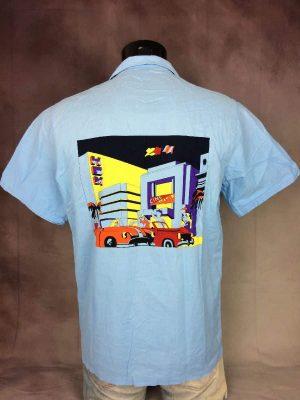 Chemise Hom, Véritable Vintage Années 80s, Made in France, Manches Courtes, Taille M, Couleur Bleu et Multicolore, Cinéma Voiture Fifties USA Design Shirt Homme