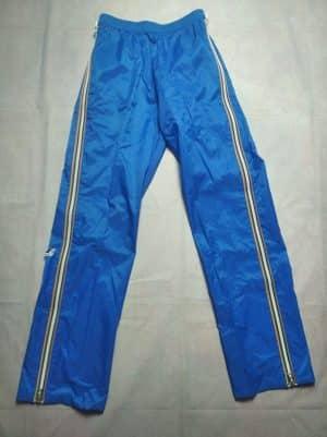 Pantalon Pluie K-Way, Véritable Vintage Années 80s, Made in France, 100% Nylon Enduit, Zip Intégral sur les Côtés, Taille M, Couleur Bleu, Blanc et Orange, Survêtement Training Sport Etanche Old School Unisexe