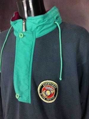 Sweatshirt Le Coq Sportif, Série Aventures, Véritable Vintage années 80s, Made in France, Patch Cousu, Zip Metal, Col Ouvrable, Capuche, Taille XL, Couleur Gris, Vert et Rose, Sport Old School Unisexe