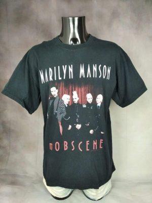 T-Shirt Marilyn Manson, Mobscene,Véritable Vintage Année 2003, Licence Officielle, Double Face, Taille L, Couleur Noir, Metal Rock Indus Goth Homme