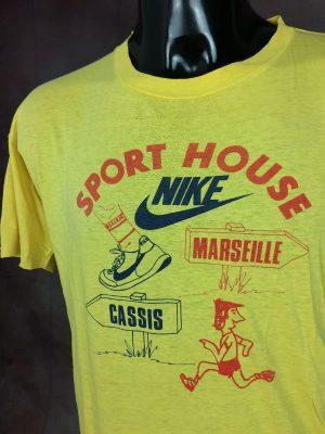T-Shirt Marseille Cassis, Sport House Nike, Véritable Vintage Années 80s, Taille M, Couleur Jaune, Rouge, Bleu, SCO Crédit Mutuel Running Course BD Homme