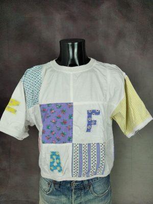 T-Shirt Naf Naf, Patchwork, Véritable Vintage Année 80s, Oversize, Taille M, Couleur Blanc et Multicolore, France Fun Provence Design Femme