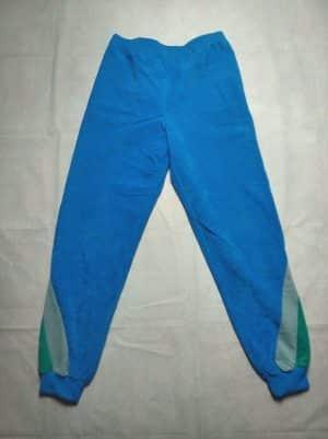 Pantalon Jogging, Véritable Vintage Années 80s, Made in France, Peau de Pêche, Taille M, Couleur Bleu, Gris et Vert, Adidas Survêtement Training Athletic Sport Unisexe