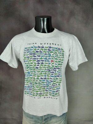 T-Shirt People Of Biarritz, Think Different, Véritable Vintage Années 90, Marque French Spirit, Pur Coton, Taille M, Couleur Gris et Vert, Ocean France Poisson Pays Basque Homme