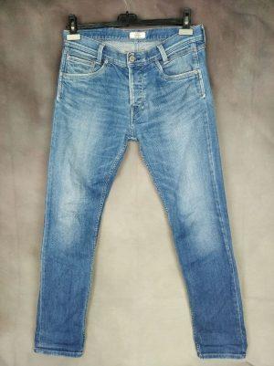 Pantalon Pepe Jeans London, Modèle Spike, The Essential Authentic Indigo, Slim Fit Low Waist Slim Leg, Fermeture Boutons, Made in Tunisia, Taille W32 L32, Couleur Mid Blue, Denim Homme