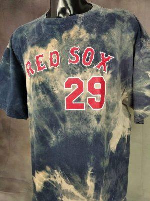 T-Shirt Red Sox, Keith Foulke N°29, Véritable Vintage année 00s, marque Majestic, Licence Officielle, Tie Dye, Pur Coton, Taille 2XL, Couleur Bleu et Rouge, Baseball MLBPA American League USA Sport Homme