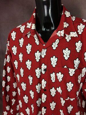 Souleiado Chemise Provence, Véritable Vintage Années 90s, Motifs Indiennes Grand Format, Made in France, Taille XL, Couleur Rouge et Blanc, Gardian Camargue Sud Feria Shirt Homme
