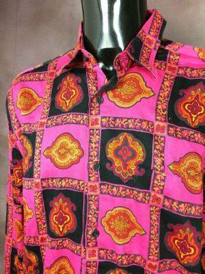 Souleiado ChemiseProvence, Véritable Vintage Années 90, Motifs Indiennes, Made in France, Pur Coton, Taille XL, Couleur Rose, Orange et Noir, Gardian Camargue Sud Feria Shirt Homme