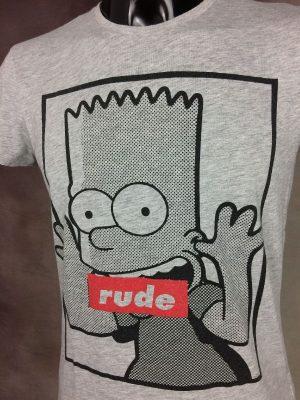 T-Shirt The Simpsons, Rude, Licence Officielle Fox Film Corporation, Année 2015, Slim Fit, Taille S, Couleur Gris et Noir, Série USA Cartoon Design Homme