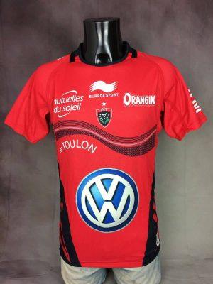 Maillot Toulon Racing Club, Saison 2013 2014, Version Home, Marque Burrda Sport, Taille S, Couleur Noir, Rouge, Blanc, Toulonnais Volkswagen RCT Quinze XV Top 14 Jersey Rugby Homme