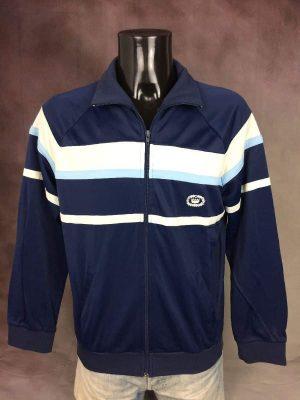 Veste Trevois Design France, Véritable Vintage Années 80, Made in Morocco, Satin, Taille M, Couleur Bleu et Blanc, Sportwear Streetwear Sport Design Unisexe
