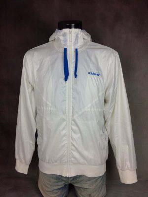 Windbreaker Adidas, Capuche, Trefoil, Intérieur Doublé, 100% Polyester, Toile Parachute, Année 2010, Taille M, Couleur Blanc, Coupe-Vent Veste Design Sport Sportwear Streetwear Unisexe