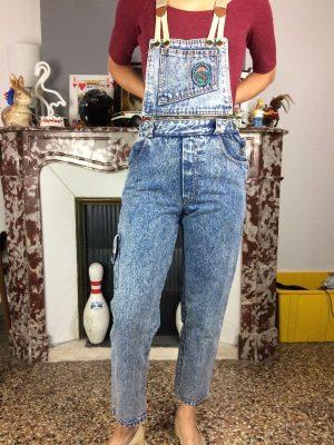 Salopette Carrera Jeans, Véritable Vintage Années 80s, Jeans Neige, Transformable en Pantalons, Bretelles, Coton, Taille XS, Couleur Bleu, Denim Pantalon Femme