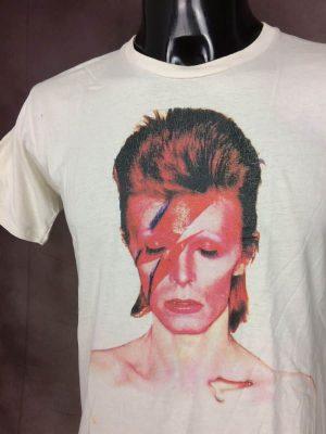 T-Shirt Bowie David, Disque Aladdin Sane,Marque Kraftbkk, Taille S, Couleur Blanc et Multicolore, Glam Rock Pop Musique Space Groupe Star Homme