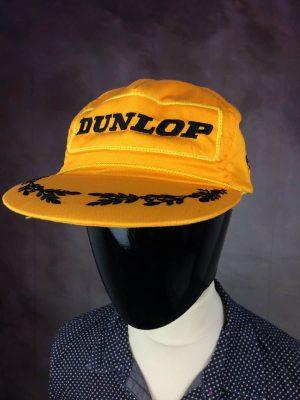 Casquette Dunlop, Véritable Vintage Années 90s, Coton, Taille Unique, Couleur Jaune et Noir, Snapback Trucker Racing Motocross Motors Unisexe