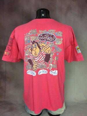 T-ShirtLC Waikiki, The Inside Sun, You Think Ready, Véritable vintage années 90s, Patch, Double Face, Pur Coton, Taille XL, Couleur Rose et Multicolore, Singe France Summer Dessin Design Homme