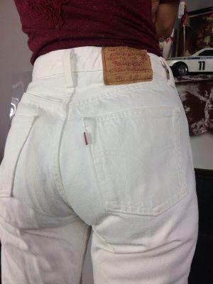 Jeans Levis 501, 0651, Made in USA, Véritable Vintage Années 80s, Taille W28 L34, Couleur Blanc, Levi Strauss Denim Pantalon Femme – 26