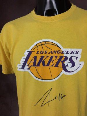 T-Shirt Los Angeles Lakers, Gasol N°16, Dédicace, Taille M, Couleur Jaune et Orange, NBA USA Basketball Espagne Barcelone Sport Homme