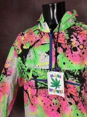 Veste Maui Wowie, Véritable Vintage Années 80s, Made in France, Taille L, Couleur Multicolore, Fluo Peinture Surf Skate Rave Ganja Weed Unisexe