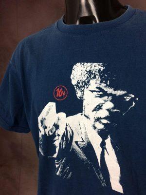T-Shirt Pulp Fiction, Samuel L. Jackson Jules Winnfield, Marque 10 Cents, Véritable Vintage Année 00s, Made in Thailand, Taille L, Couleur Bleu et Blanc, Quentin Tarantino Film Palme Or Cannes Homme