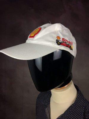 Casquette Shell F1, Véritable Vintage Année 00s, 100% Coton, Taille Unique, Couleur Rouge, Jaune, Blanc, Formula One Racing Compétition Ferrari Unisexe