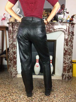 Pantalon The Classic Members, 100% Cuir Agneau, Intérieur Doublé, Véritable Vintage Années 90, Taille 38, Couleur Noir, Rock Biker Femme Mixte
